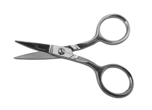 Left-handed Large Ringed Fine Tip Curved Blade Scissors Item# 709L