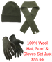 100% Wool Hat, Scarf & Gloves Set (Moss Green)