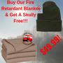 Fire Retardant Blanket W/Free Green Wool Skully