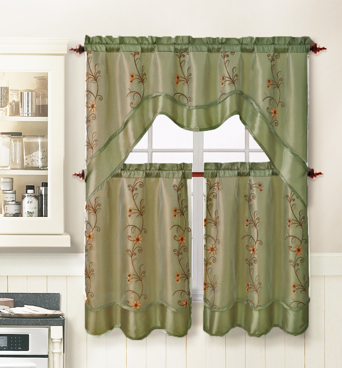 Sage Green 3 Piece Kitchen Window Curtain Treatment Set 2 Layer Embroidered Sheer Design 2 Tiers And 1 Valance My Infinity Store
