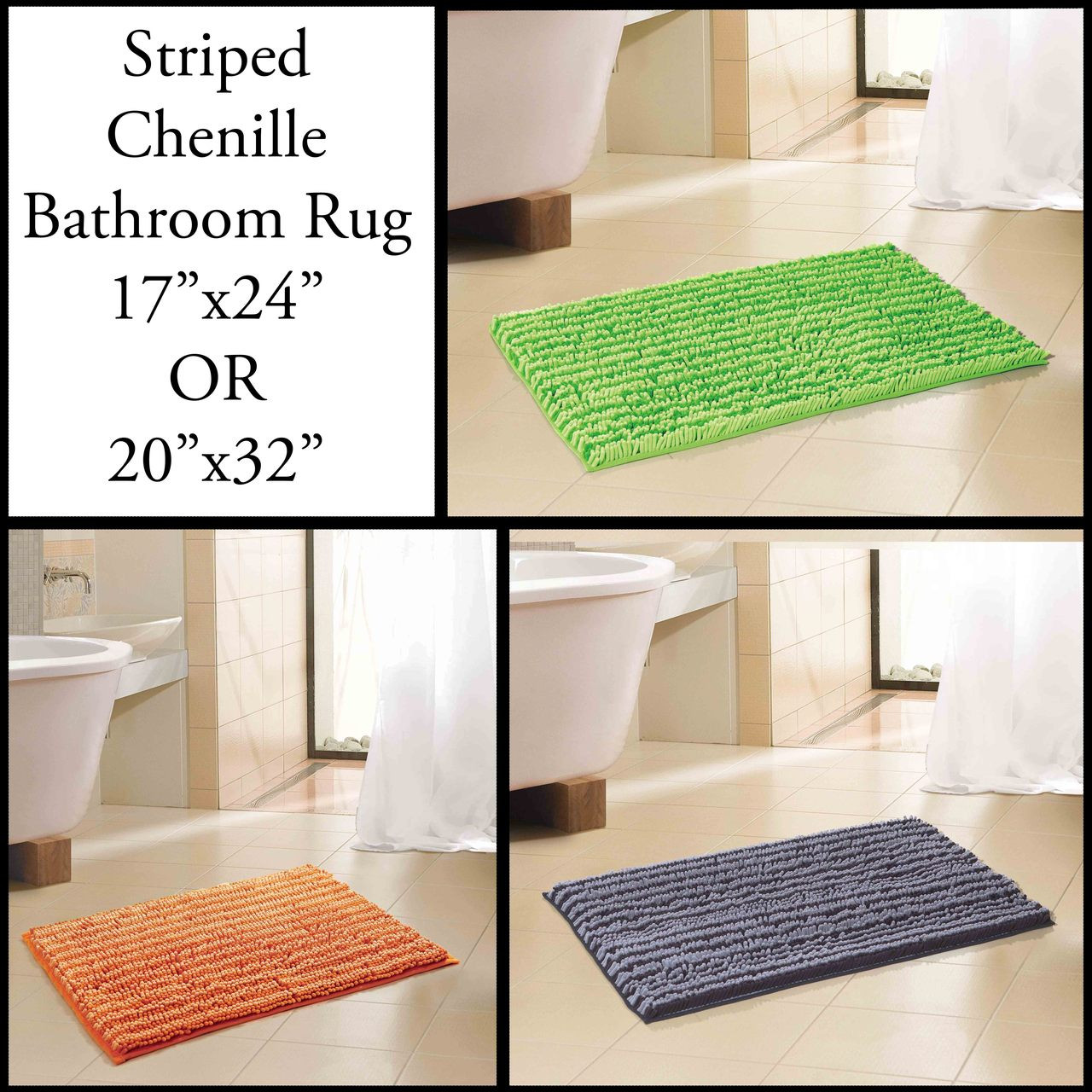 2 Tone Chenille Bathroom Mat Area Rug In 2 Sizes Non Skid Lime Green Gray Black Orange My Infinity Store