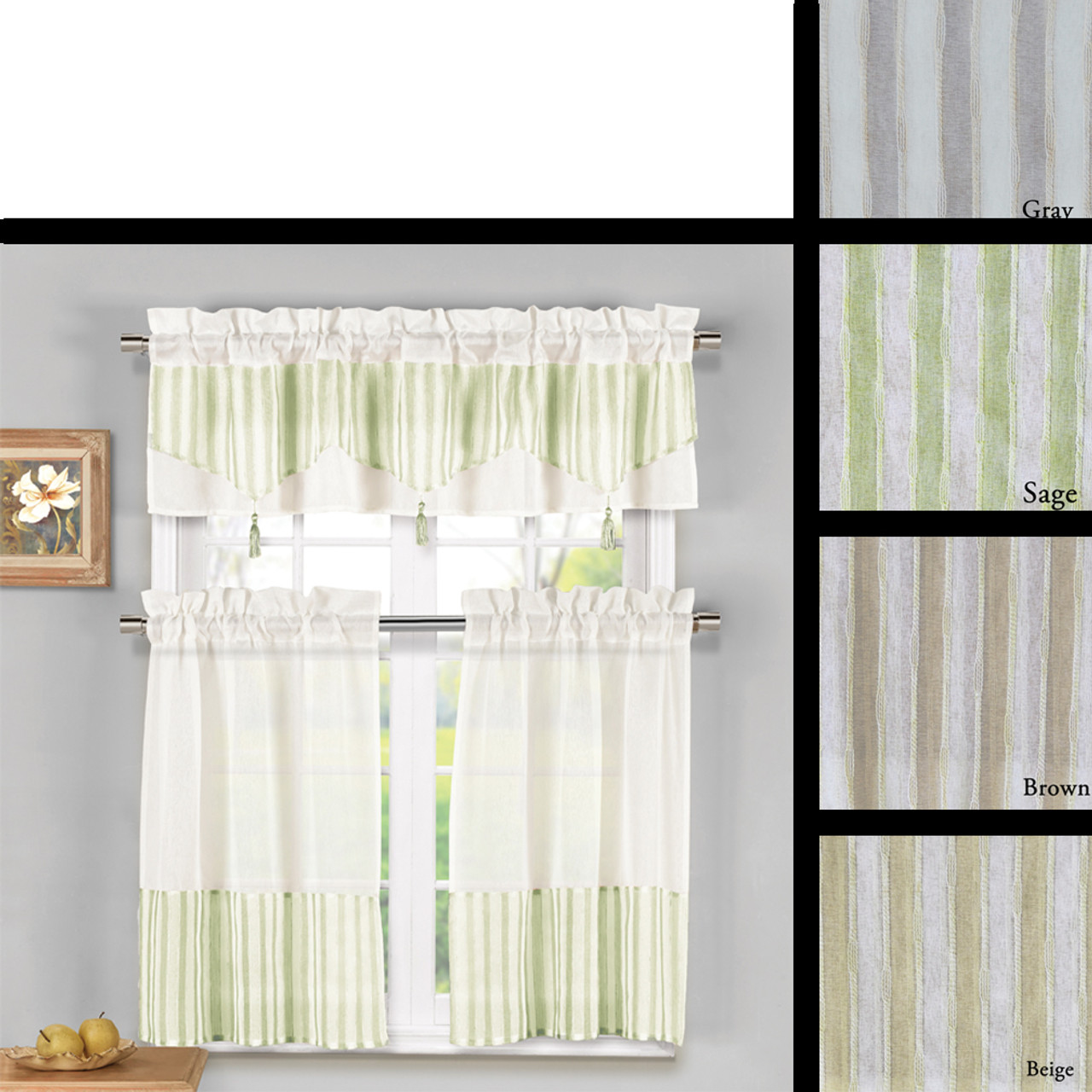 3 Piece Embroidered Sheer Kitchen Window Curtain Set With 1 Tasseled Valance And 2 Tier Panel Curtains My Infinity Store