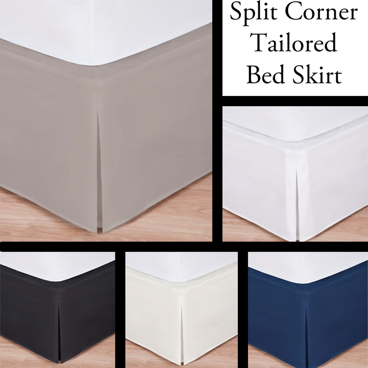 Luxury Hotel Bed Skirt Tailored Pleat Queen Size White Ivory Navy Mocha Black I Bathroom And More