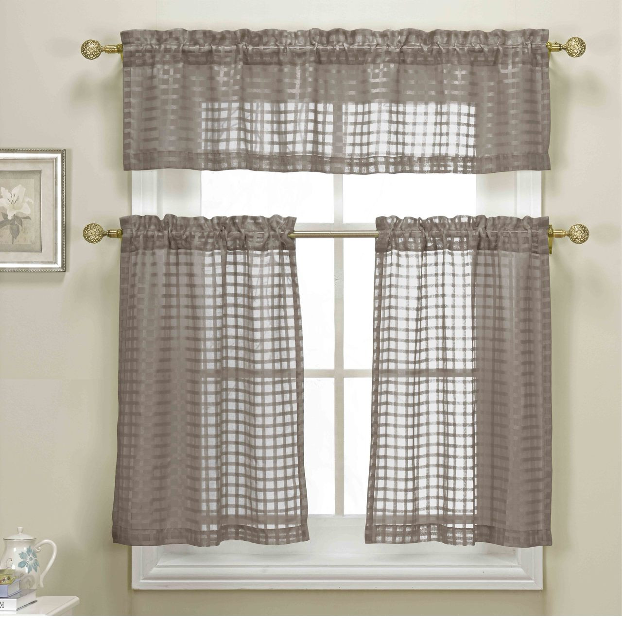 3 Piece Taupe Sheer Kitchen Curtain Set Woven Check Design 1 Valance 2 Tier Panels My Infinity Store
