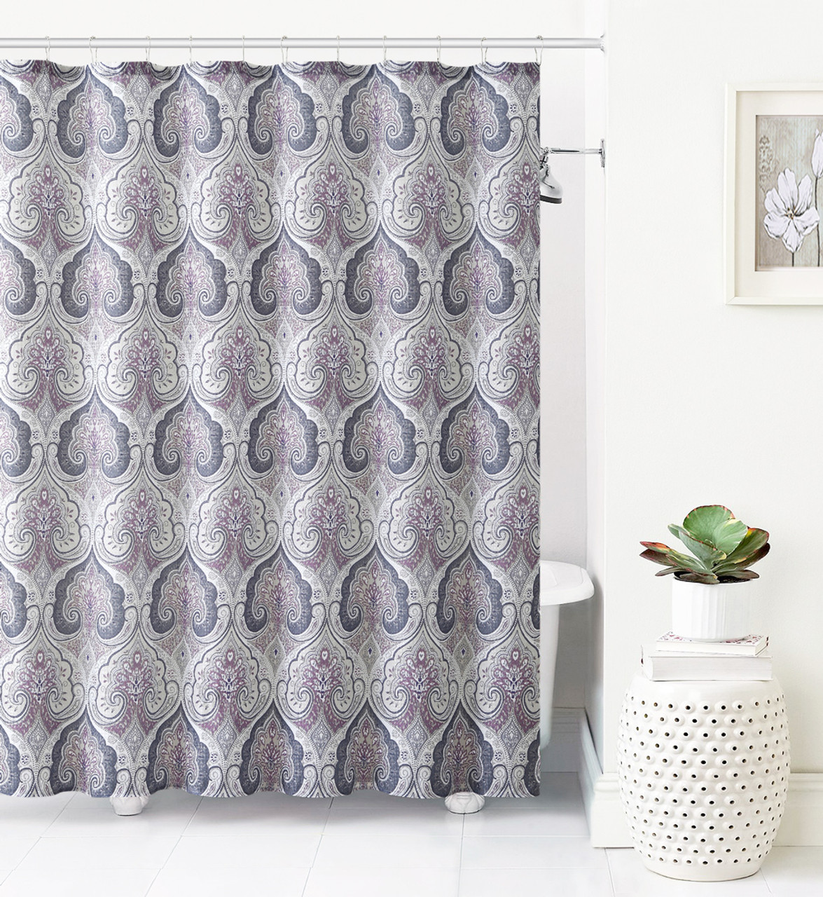 Jacquard Fabric Shower Curtain Purple Gray And Taupe Ikat Moroccan Design My Infinity Store