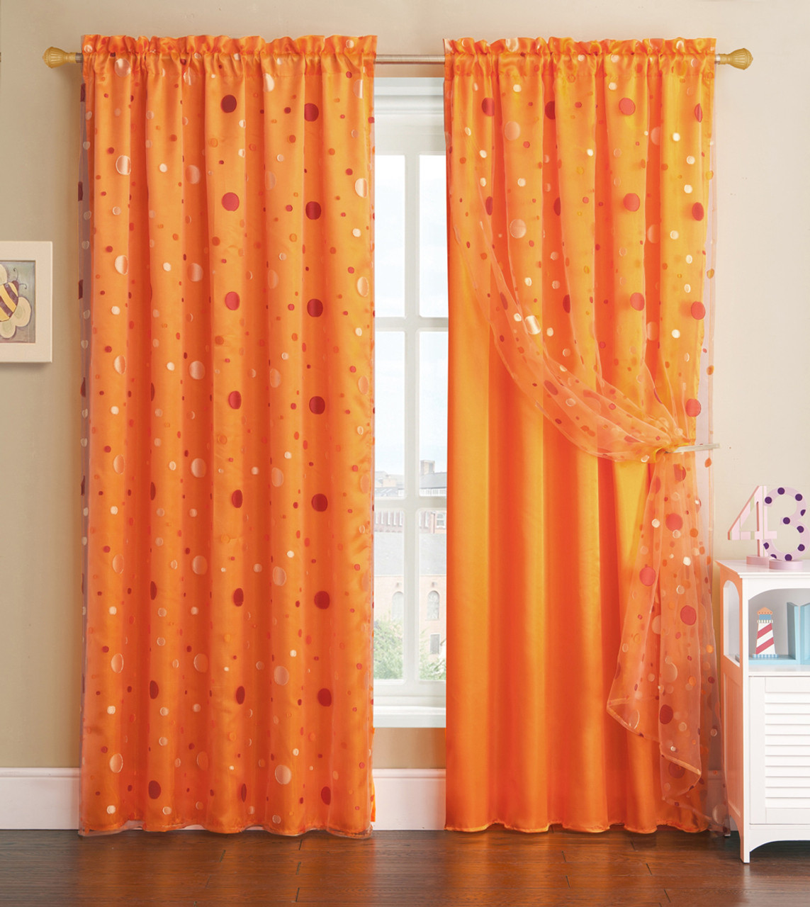 Orange Window Curtain Panel With Circle Design Sheer Top Layer 55in X 90in My Infinity Store