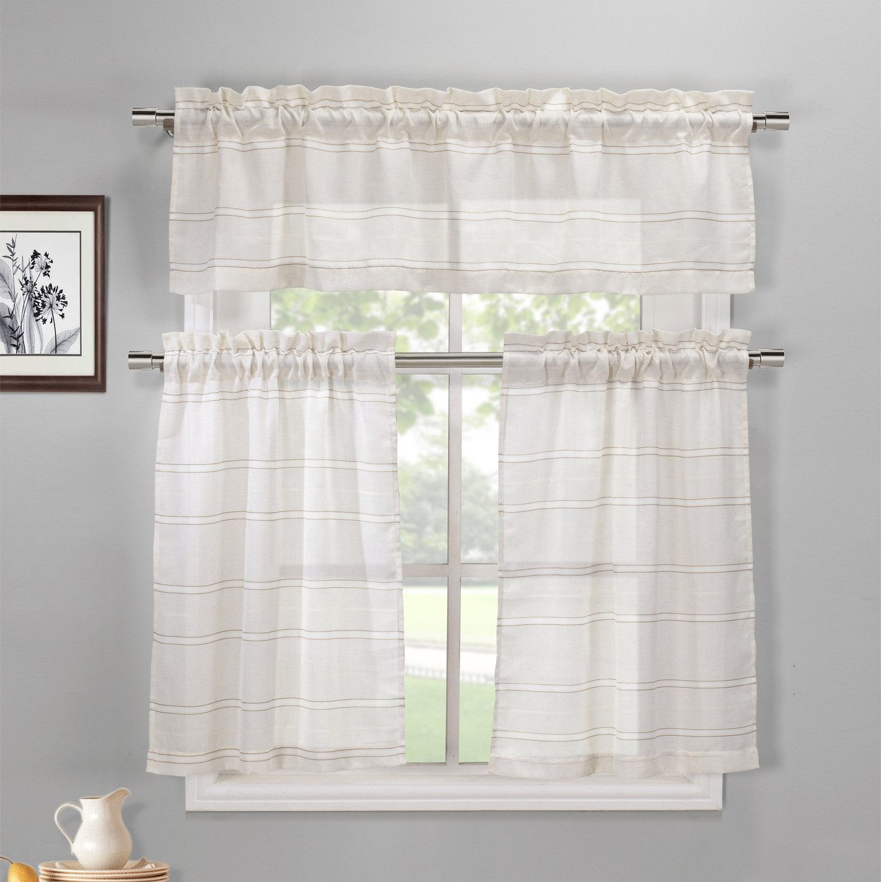Linen And Coffee 3 Piece Kitchen Window Curtain Set 1 Valance 2 Tiers My Infinity Store