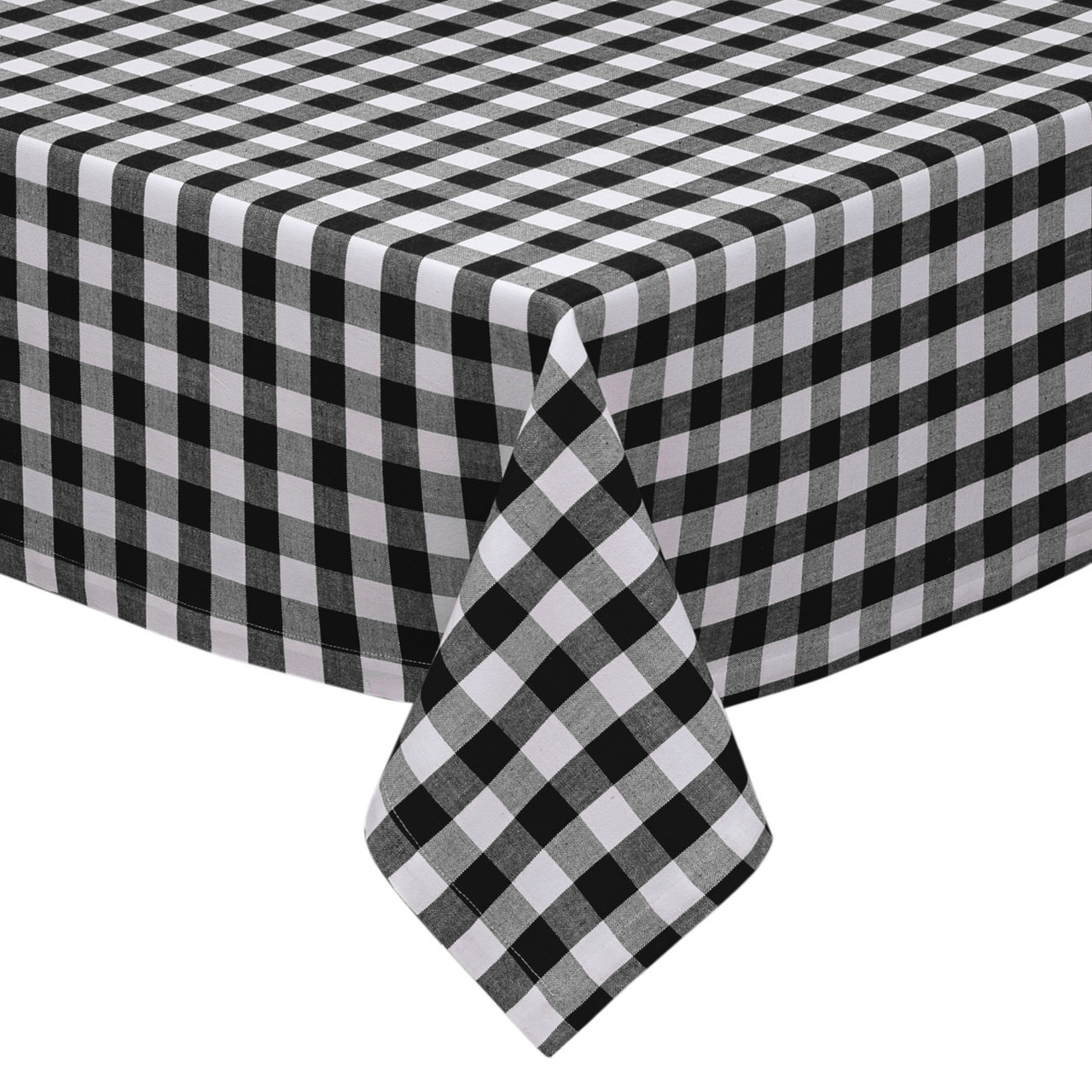 Black And White Checkered Kitchen Dining Room Tablecloth Gingham Plaid Design Cotton Rich 54 X72 58 X102 X84 70 Round My Infinity Store