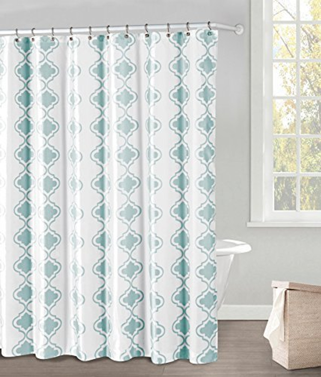 white and blue fabric shower curtain blue moroccan tile design 70 x 72