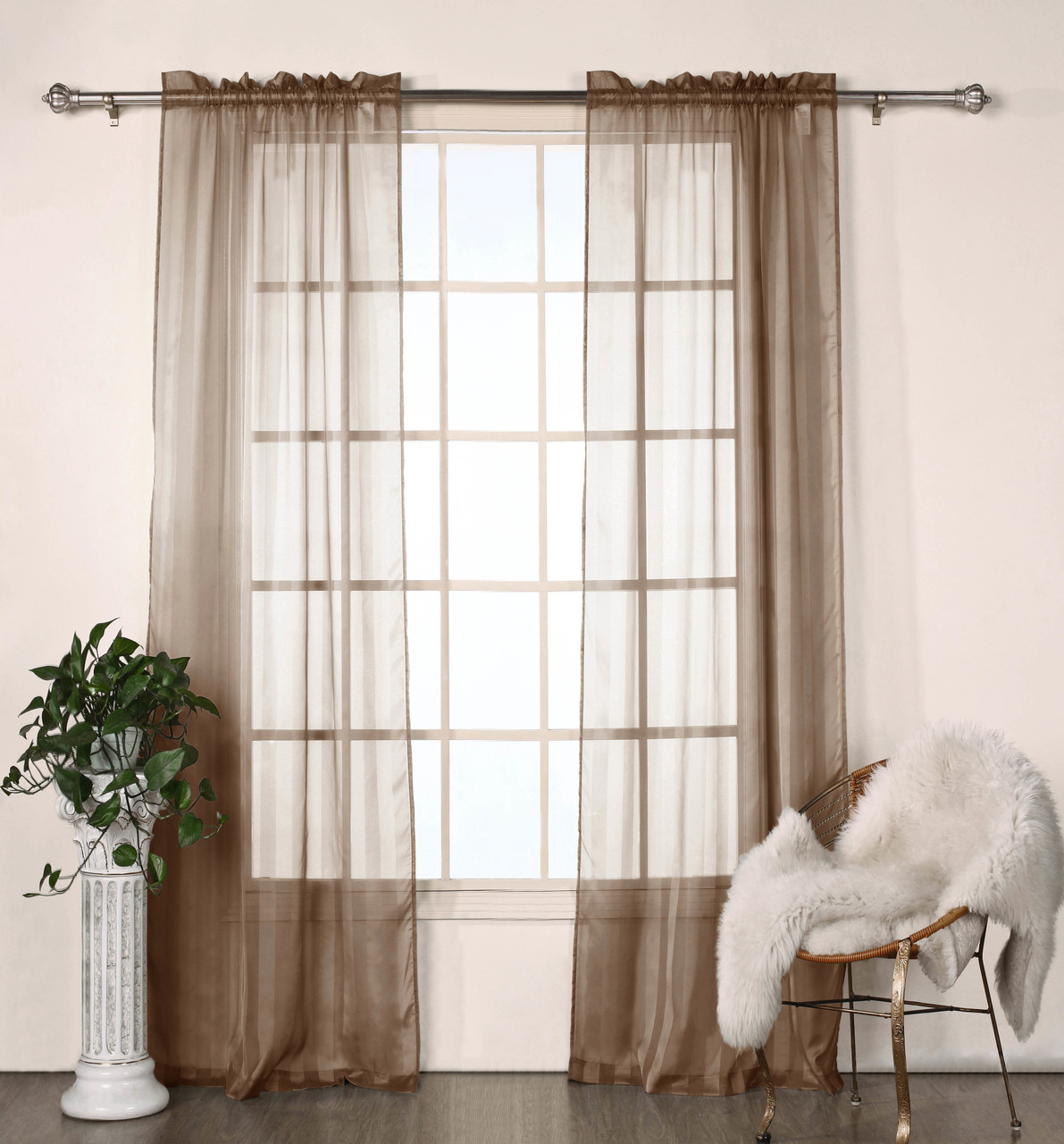 Set Of Two 2 Brown Sheer Window Curtain Panels Satin Stripe 76 W X 84 L My Infinity Store