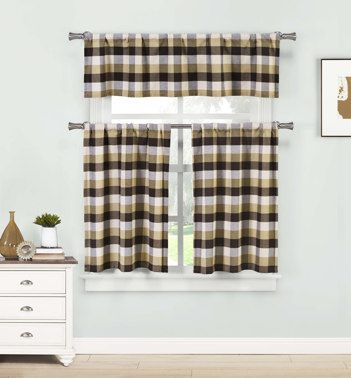 brown three piece kitchen cafe tier window curtain set large gingham check pattern cotton blend fabric