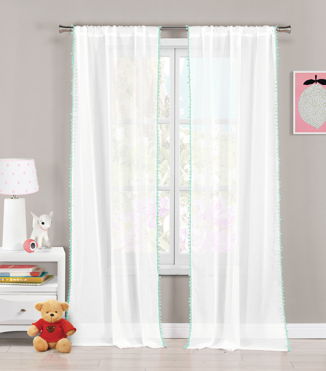 White with Sea Foam pom-poms 76x84 Set 2 Sheer Pole Top Window Curtain Panels