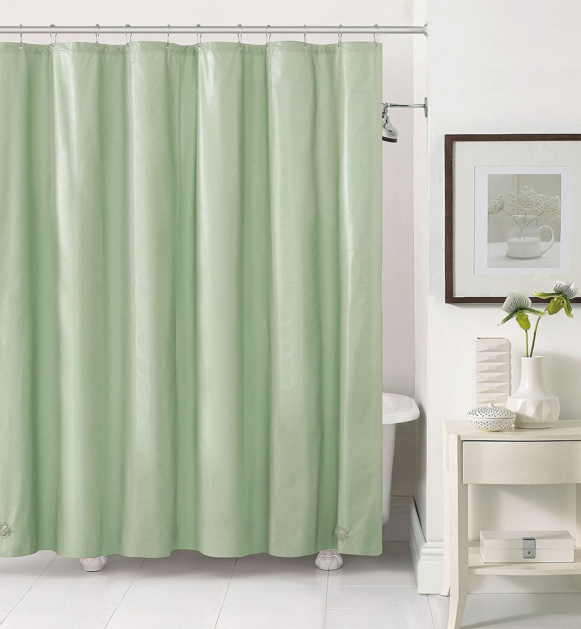 Magnets Grommets Gold Shower Curtain Liner Mold Mildew Bacteria Resistant
