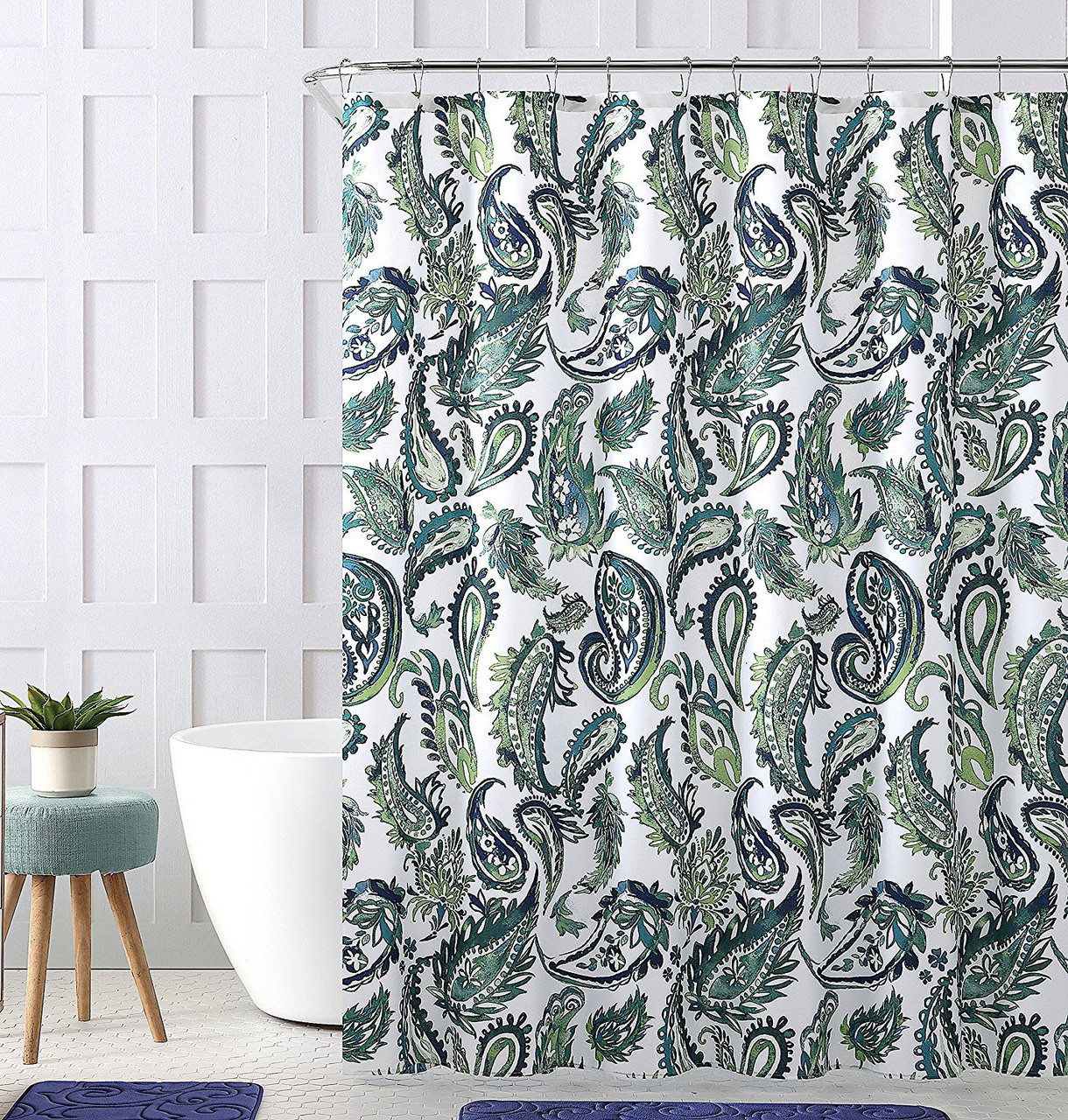"""White Background Watercolor Green Leaves Pattern Fabric Shower Curtain Liner 72/"""""""