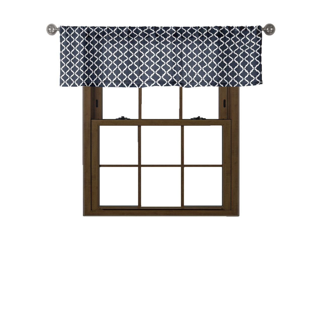 Bathroom And More Collection Navy White 100 Cotton Window Curtain Valance Moroccan Tile Design 58in W X 15in L My Infinity Store