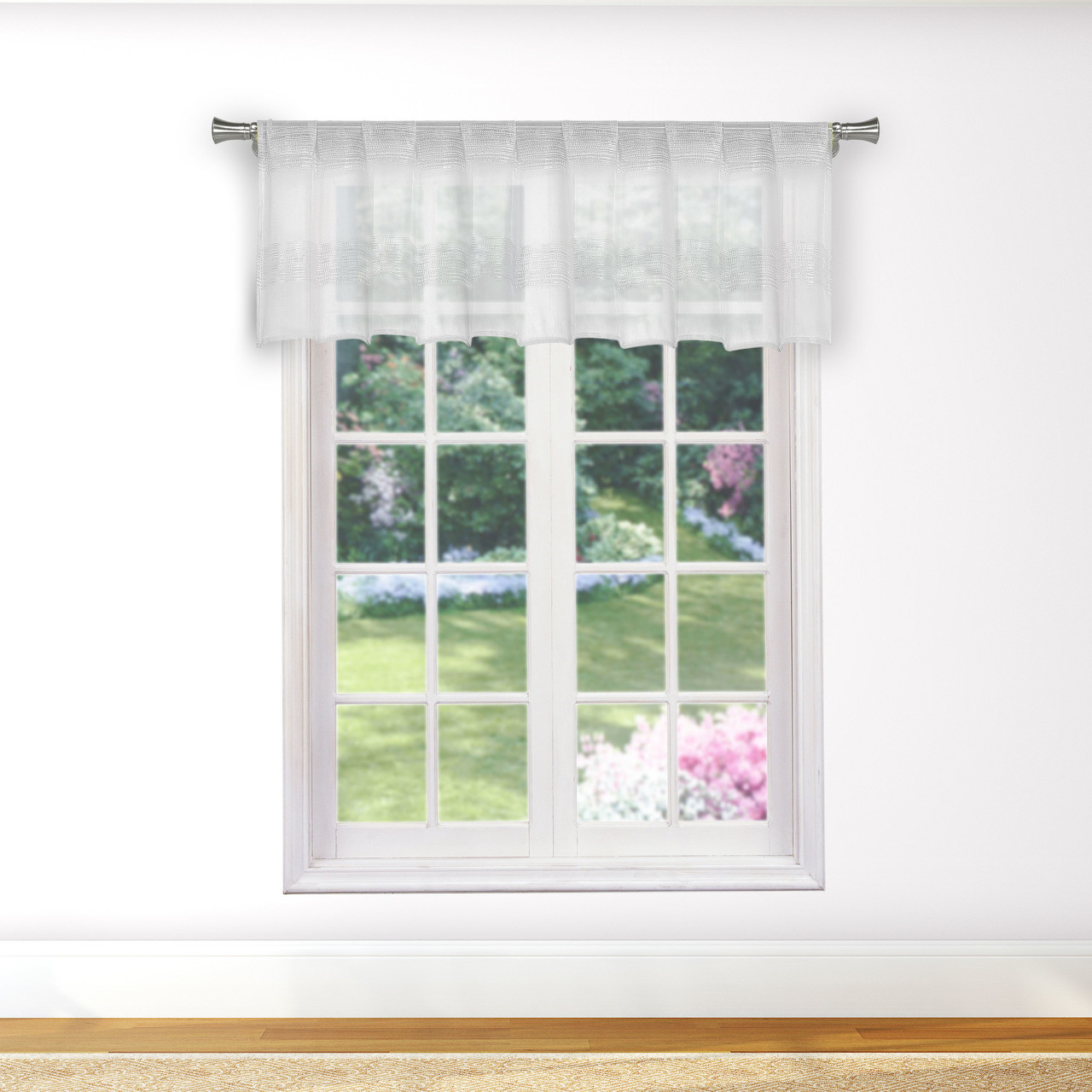 Bathroom And More Collection Pure White Sheer Window Curtain Valance With Stripe Design Single 1 Valance 56in W X 15in L My Infinity Store