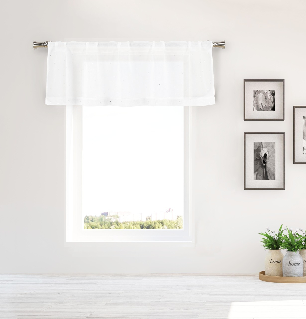 Bathroom And More Collection Pure White Sheer Window Curtain Valance With Crystal Rhinestones Design Single 1 Valance 55in W X 16in L My Infinity Store