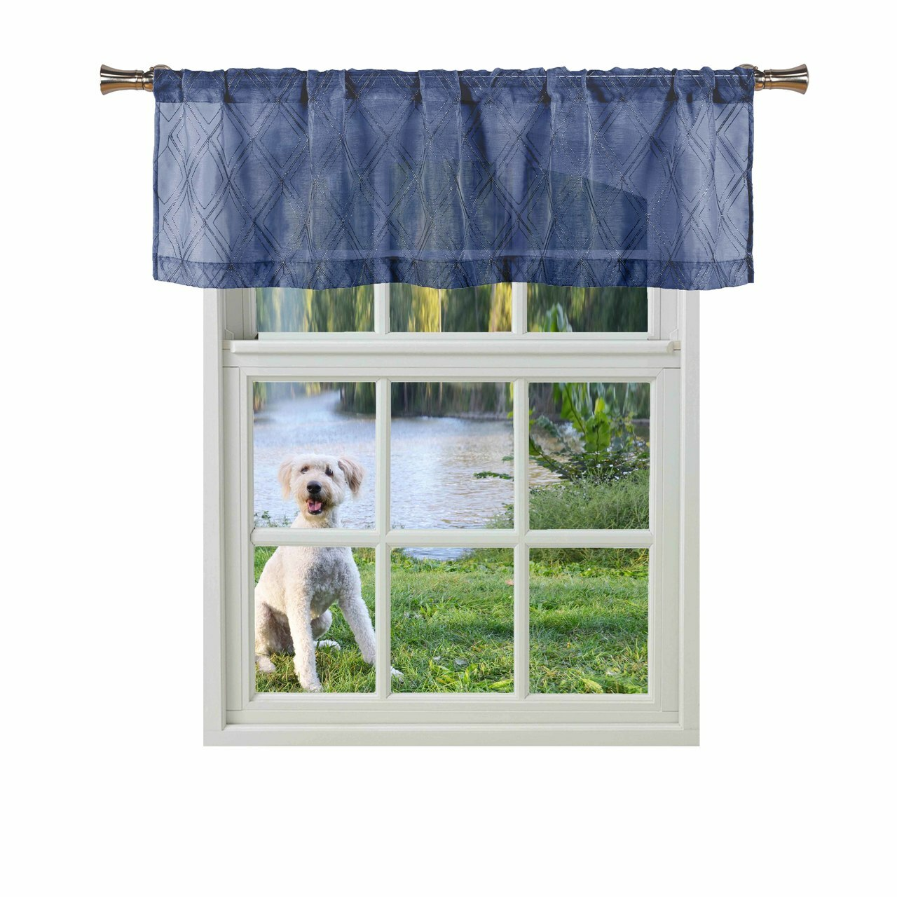 Bathroom And More Adley Collection Navy Blue Sheer Window Curtain Valance Embroidered Diamond Trellis Design With Navy Blue And Metallic Silver Thread Single 1 Valance 56in W X 15in L My