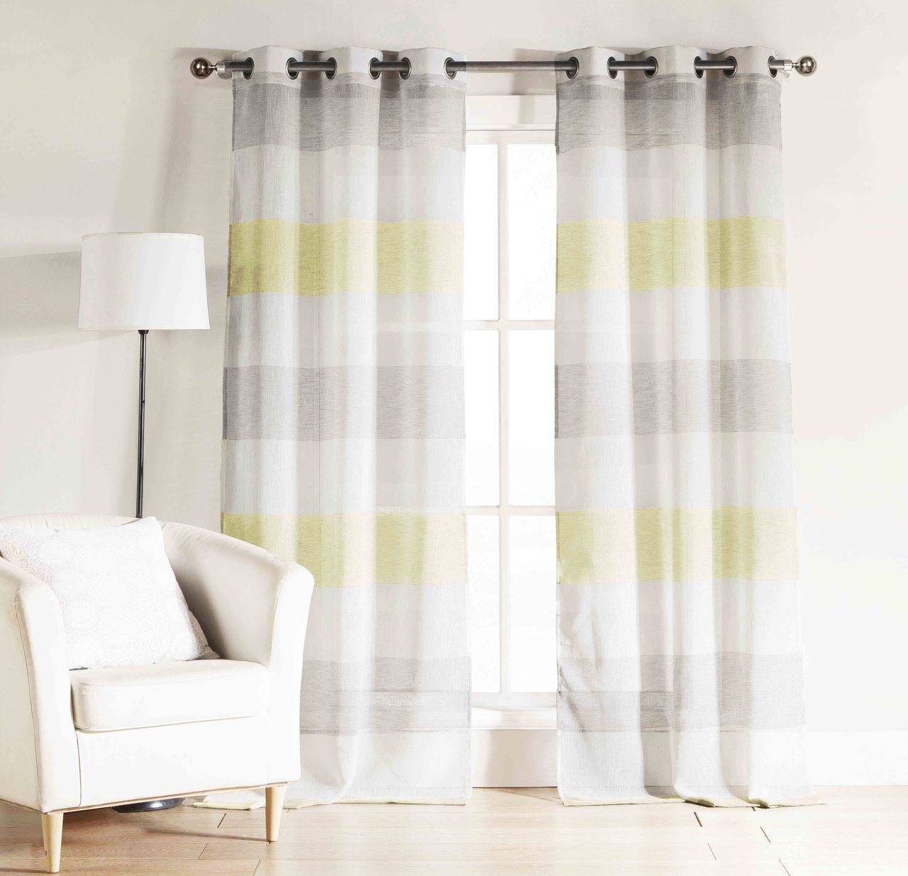 Bathroom And More Set Two 2 Gray Yellow White Sheer Window Curtain Panels Cabana Stripe Grommets Panel Pair 2 96 Long My Infinity Store