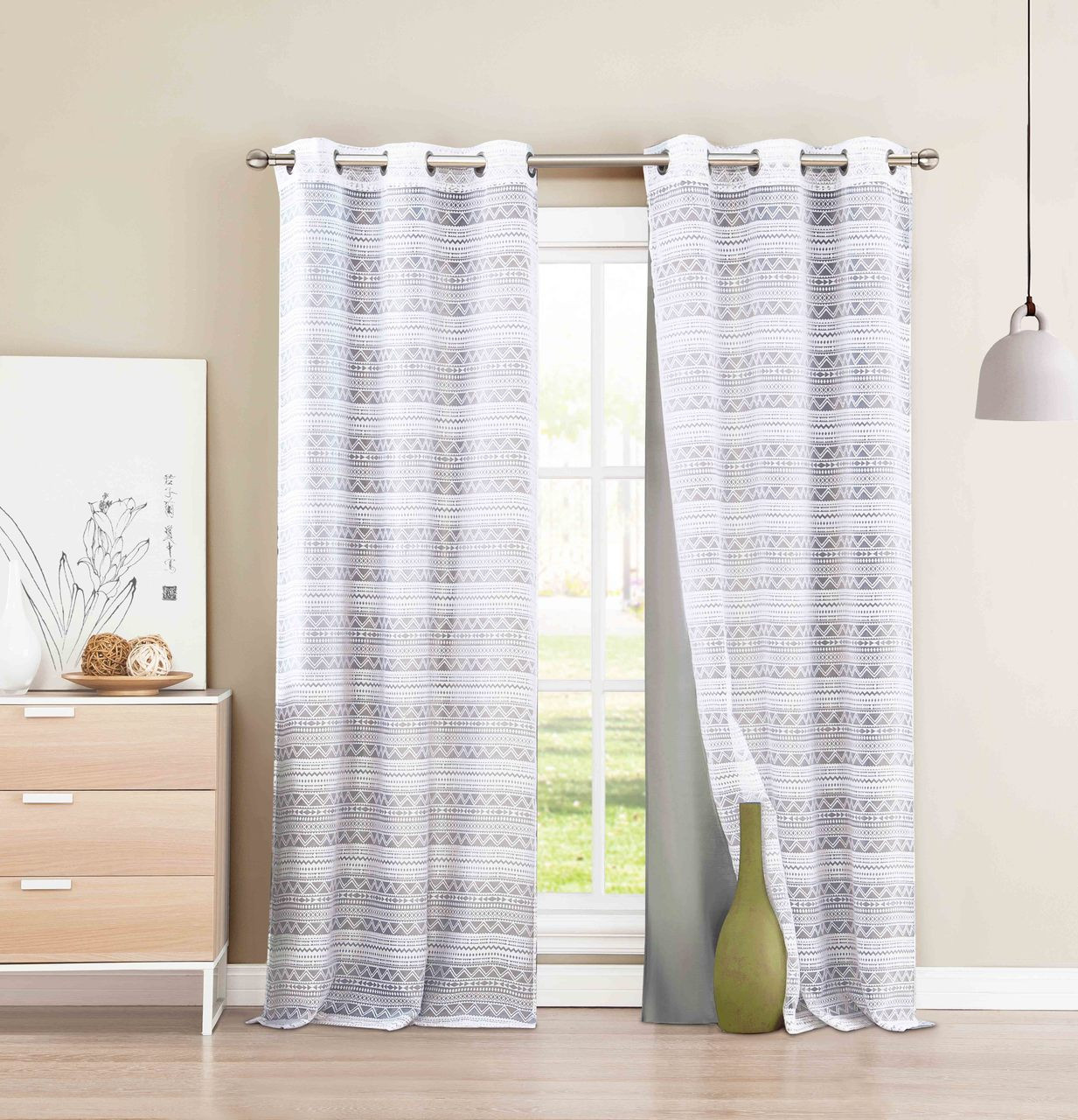 4 Pc Grommet Window Curtain Panel Set Mix And Match Layered Look 2 Gray Faux Silk Panels 2 White Burnout Sheer Panels 84 Long My Infinity Store