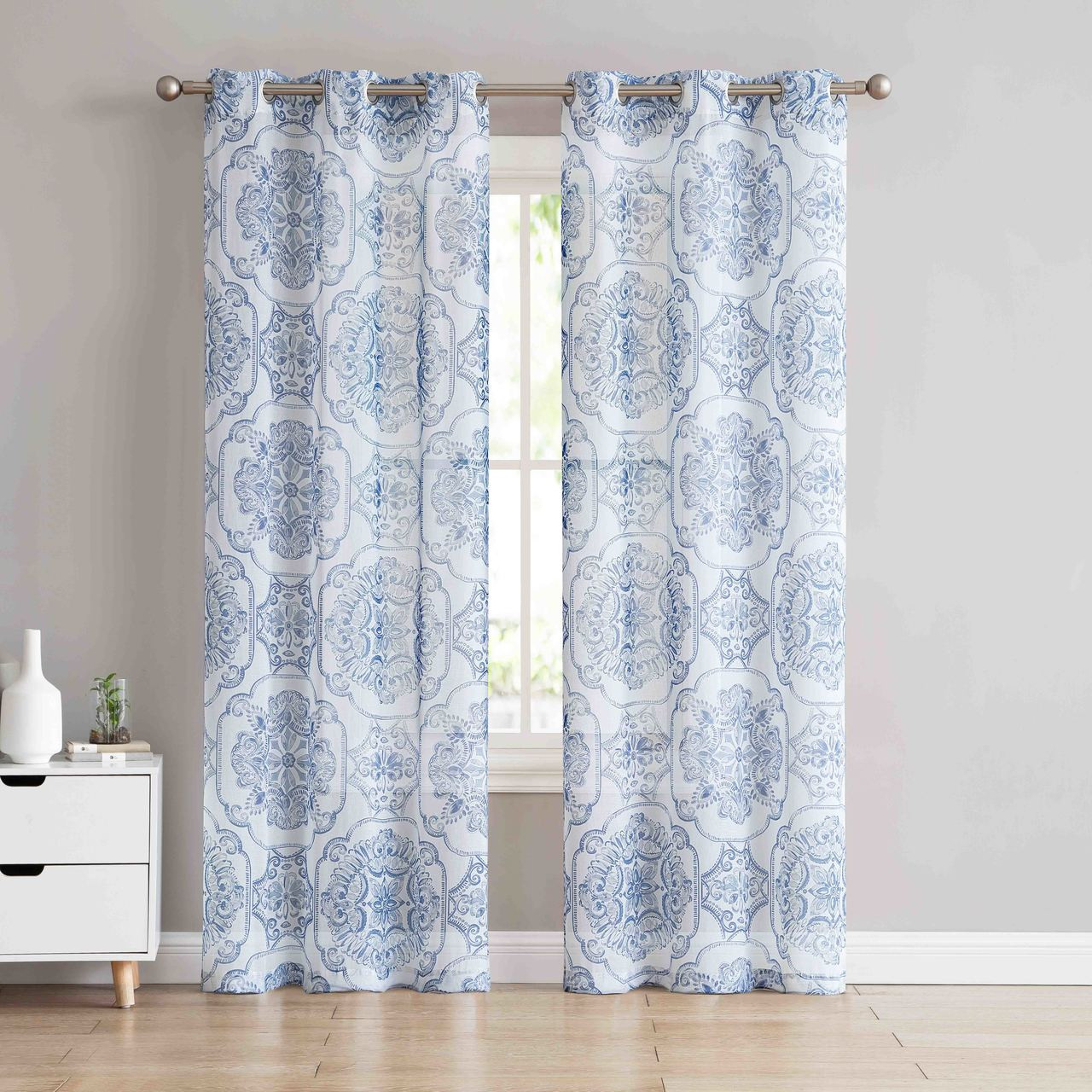 Sheer Grommet Window Curtain Panel Pair With Slate Blue And Off White Medallion Design 84in L My Infinity Store