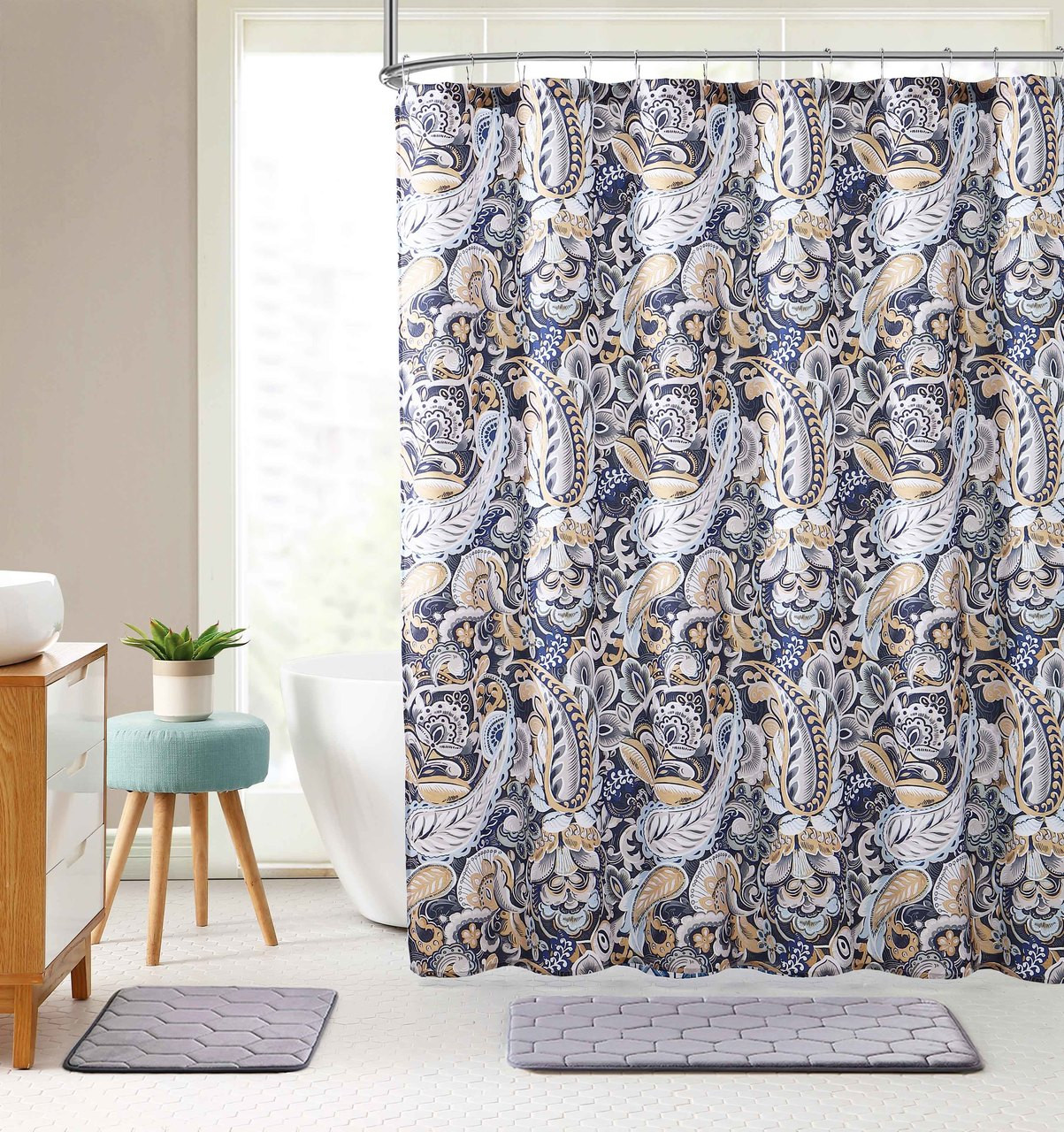 Watercolor Floral Paisley Decorative Navy Blue Gold Fabric Shower Curtain