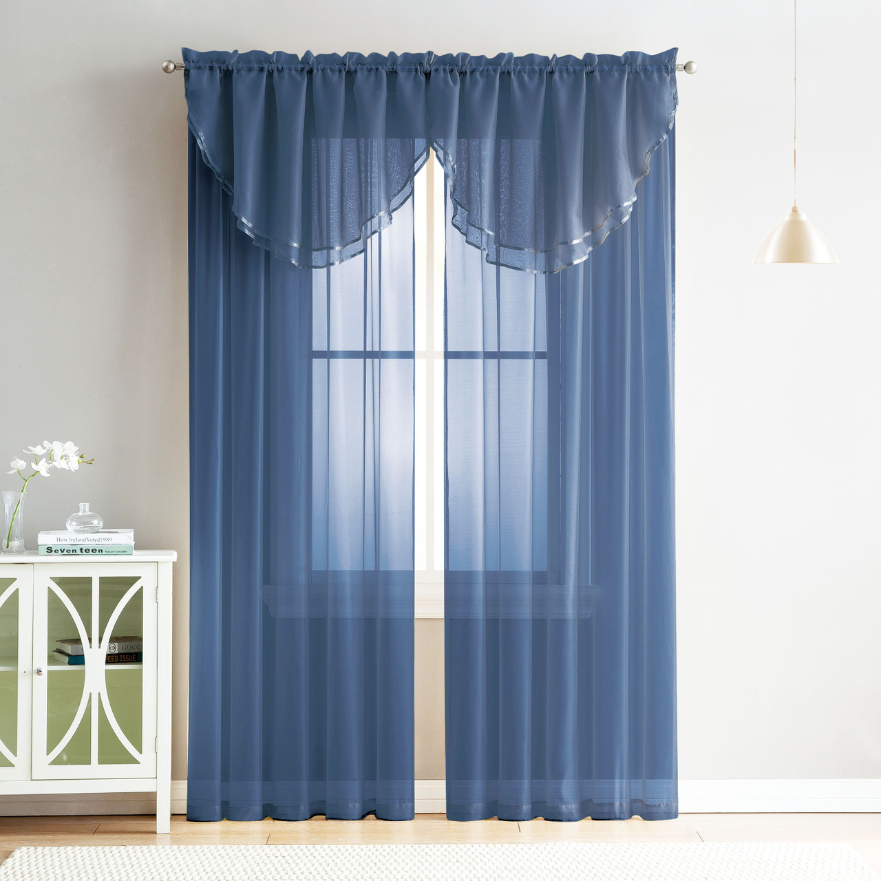 4 Piece Sheer Window Curtain Set For Living Room Dining Room Bay Windows 2 Voile Valance Curtains And 2 Panels 84 In Long Navy My Infinity Store