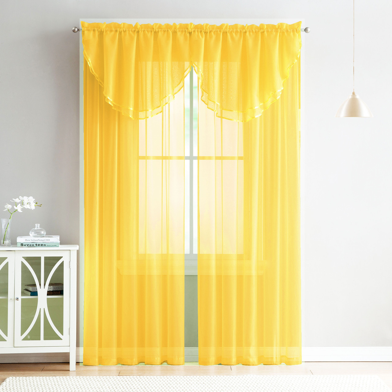 4 Piece Sheer Window Curtain Set For Living Room Dining Room Bay Windows 2 Voile Valance Curtains And 2 Panels 84 In Long Yellow My Infinity Store