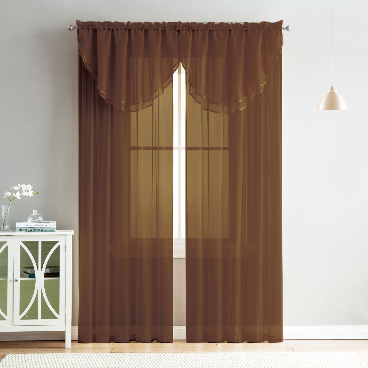 4 Piece Sheer Window Curtain Set For Living Room Dining Room Bay Windows 2 Voile Valance Curtains And 2 Panels 84 In Long Chocolate Brown My Infinity Store