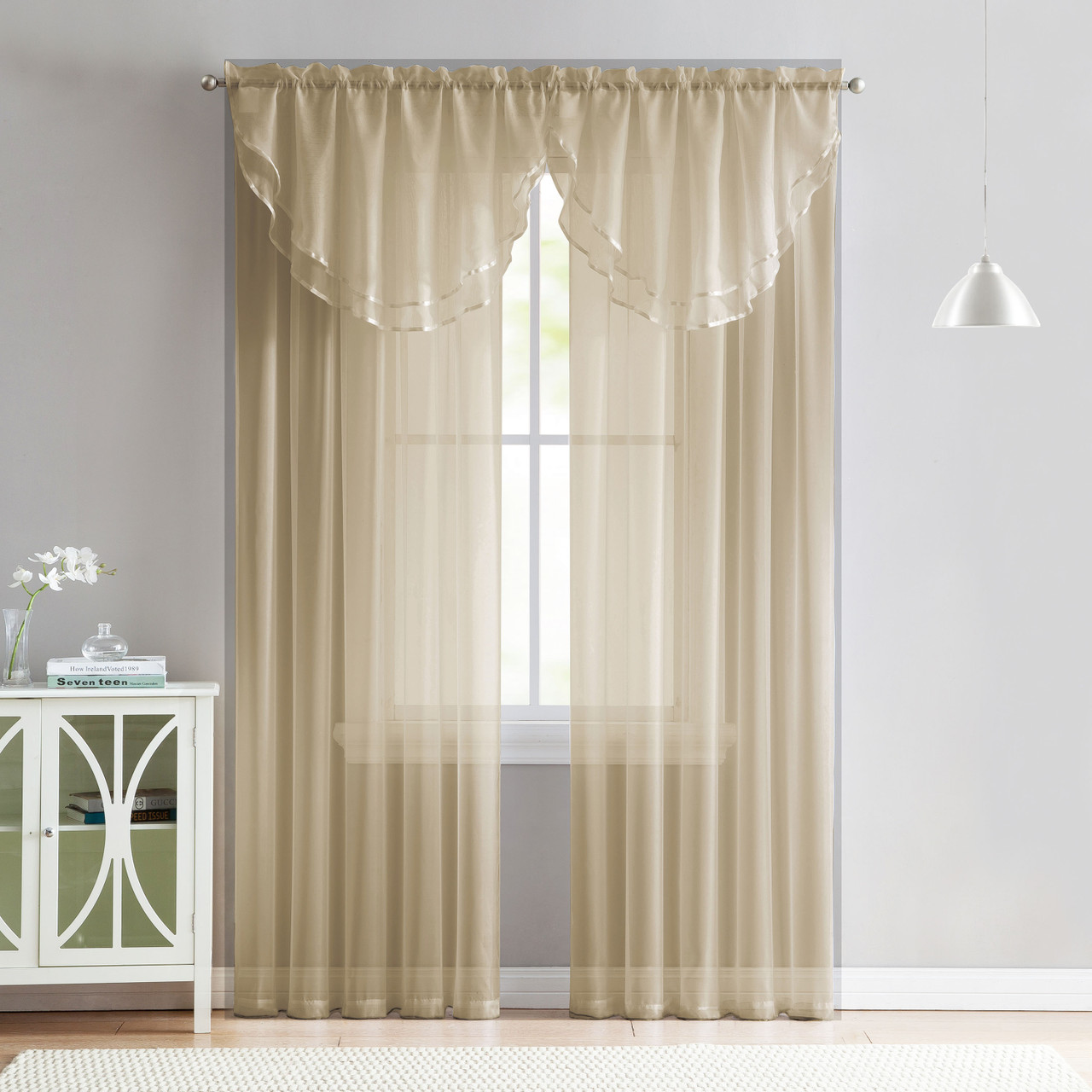 4 Piece Sheer Window Curtain Set For Living Room Dining Room Bay Windows 2 Voile Valance Curtains And 2 Panels 84 In Long Taupe My Infinity Store