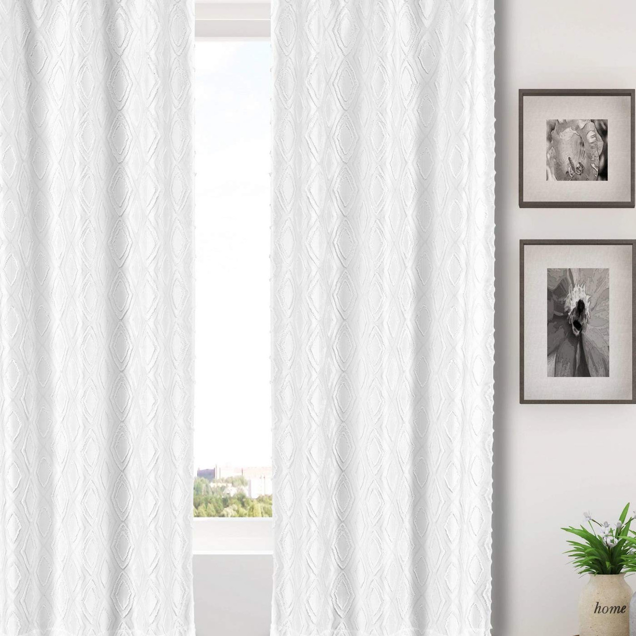 """Set of Two White-Off White Grommet Window Curtain Panels 84"""" Length Linen look"""