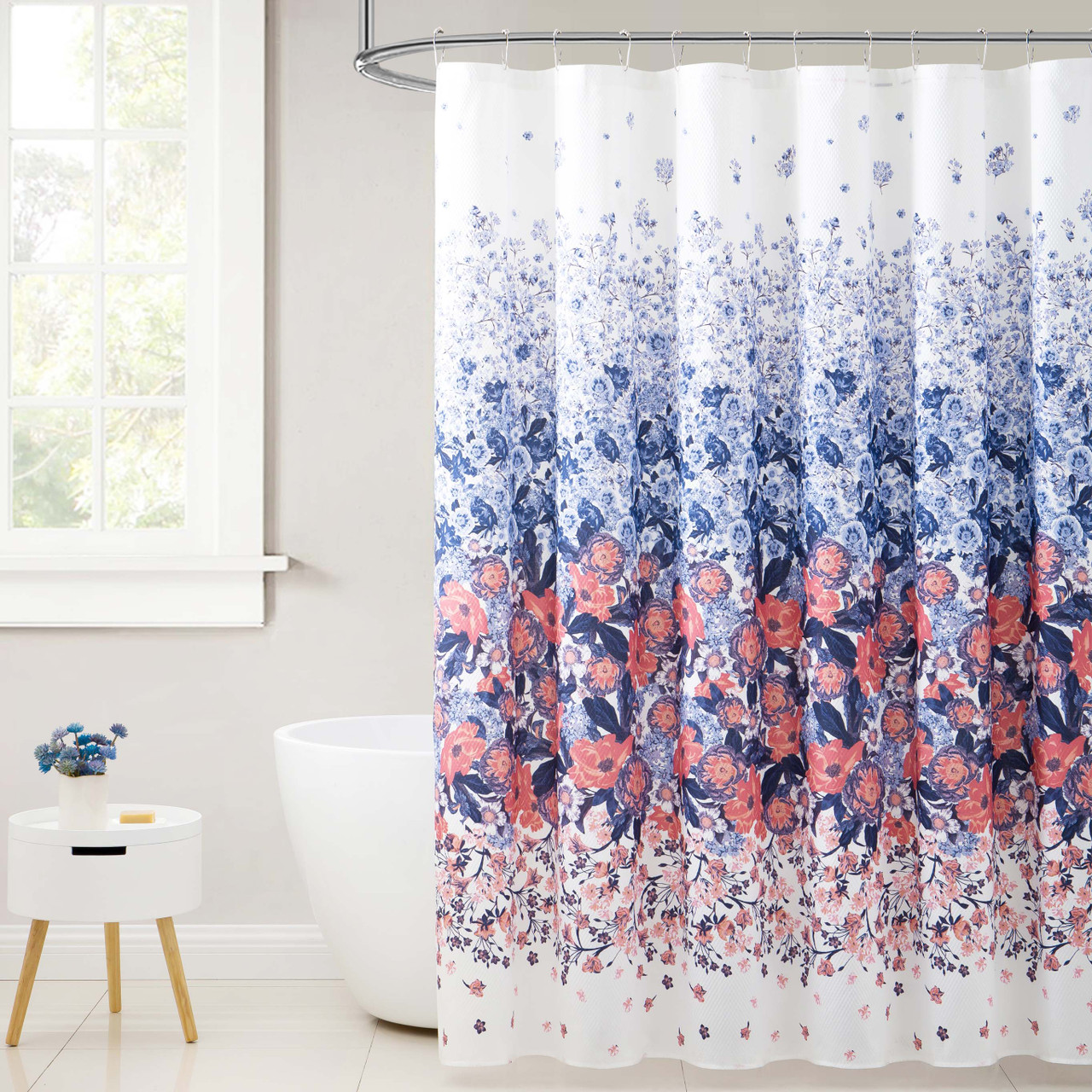 Fabric Shower Curtain For Bathroom White With Navy And Orange Coral Floral Design 72in X72 In My Infinity Store