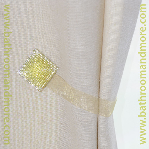 Gold Square Crystal Magnetic Tie Back