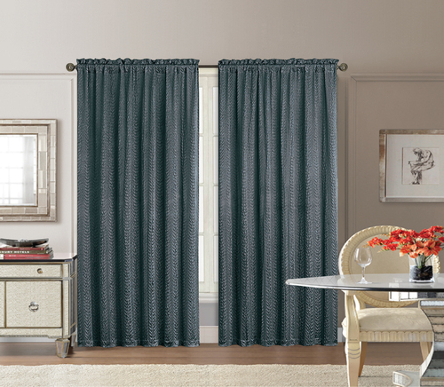 Graphite Gray Window Curtain Panel: Crushed Satin, 46in x 84in
