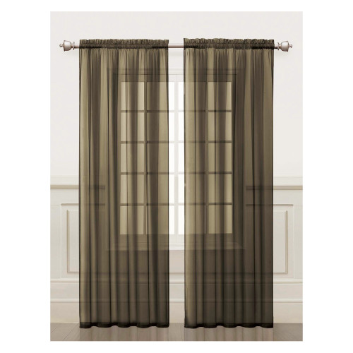 Chocolate Brown Sheer Window Curtain Panel 2 Piece Set: Silky Chiffon, 55x84