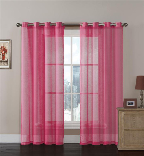 Pink Sheer Textured Window Curtain Panel 2 Pc Set with Grommets