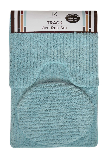 Blue Plush Bathmat 3 Piece Set: Contour Rug, Bath Mat, Toilet Seat Lid Cover
