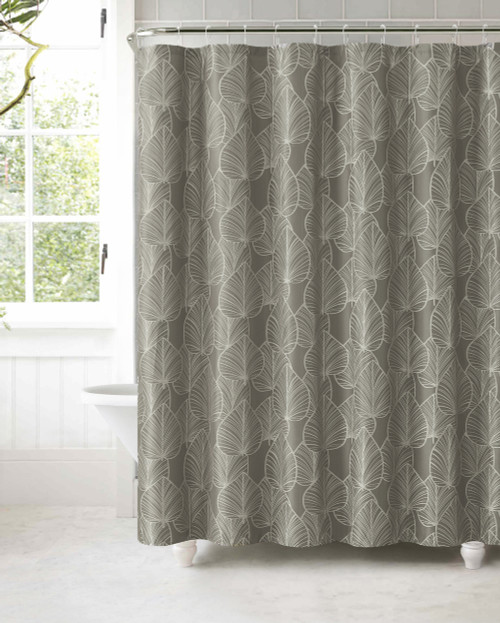 Gray Jacquard Fabric Shower Curtain: Silver Textured Leaf Design