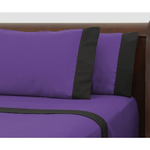 Purple Bed Sheet Set with Black Borders