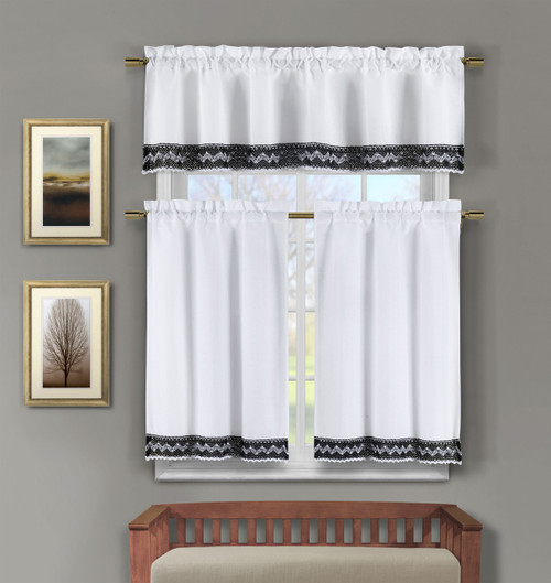 3 Piece White Faux Linen Kitchen Window Curtains: Black Crocheted Lace Border | Bathroom and More