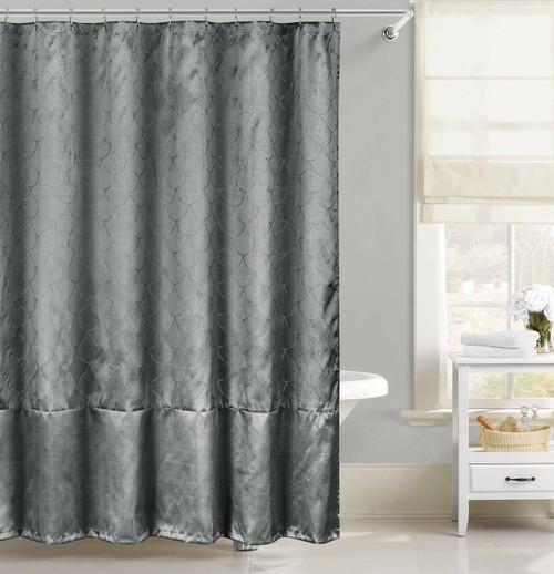 Gray Faux Silk Fabric Shower Curtain with Metallic Silver Raised Pin Dots