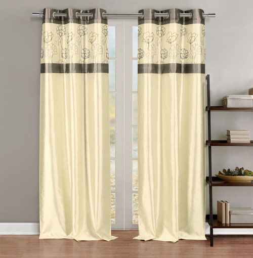 Faux Silk Linen Window Curtain Panel Pair with Silver Taupe Floral Accents