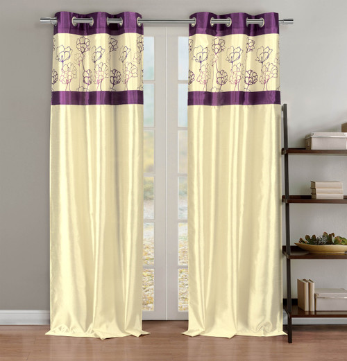 Faux Silk Linen Window Curtain Panel Pair with Purple Floral Accents