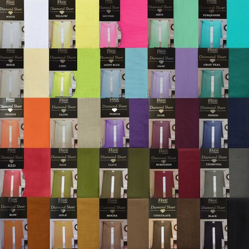"90"" Single Sheer Window Curtain Panel: Mix and match your own assortment of colors to customize your window at an affordable price with your choice of Aqua, Beige, Black, Burgundy, Red, Chocolate, Hot Pink, Gold, Lilac, Lime, Light Blue, Indigo, Orange, Plum, Purple, Olive, Rust, Sage, Charcoal, Taupe, Turquoise, White, Gray Teal, Mocha or Yellow."