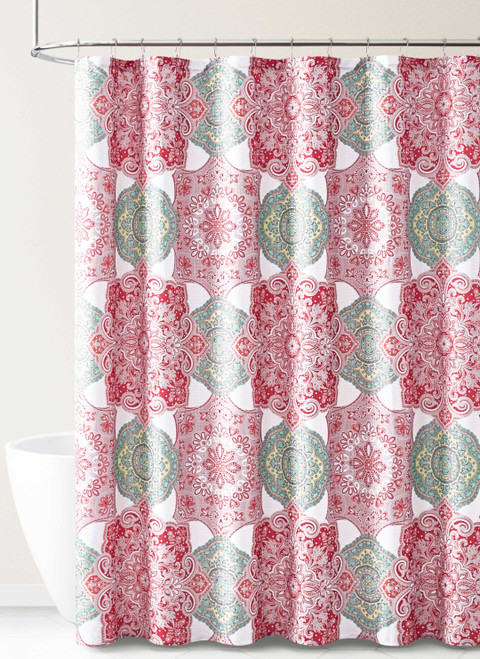 Colorful Fabric Shower Curtain Floral Medallion Geo Design RED GREY WHITE
