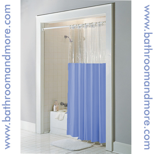 Clear top window vinyl shower curtain in blue.