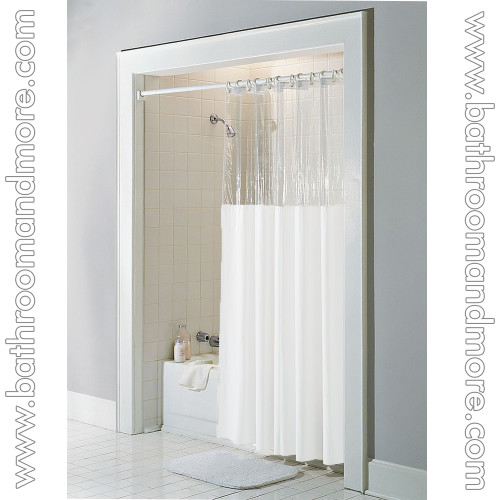 White vinyl clear top window shower curtain.