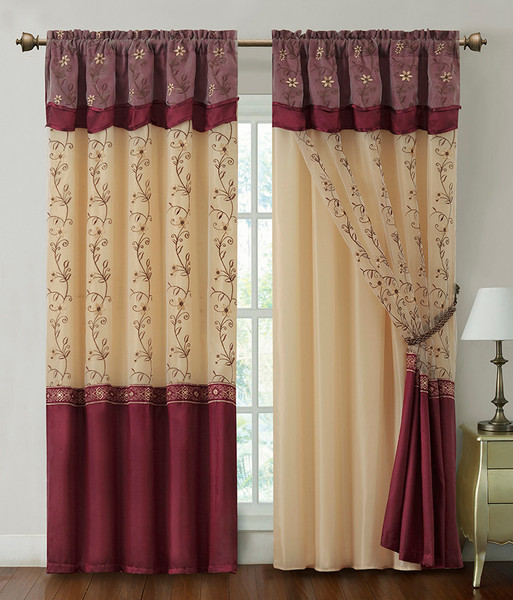 """Burgundy One Piece Window Curtain Drapery Sheer Panel w/ Attached Backing and Valance 57""""x90"""""""