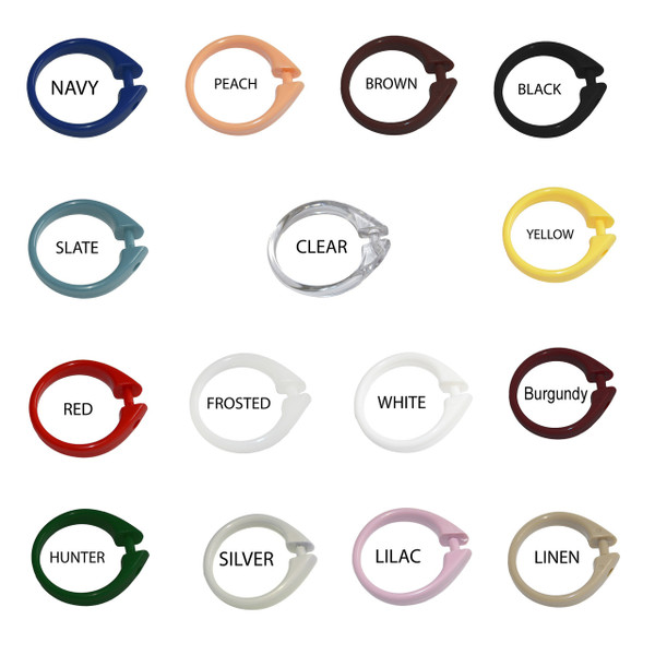 """Set of 12 Easy-to-Use Plastic Snap On Shower Curtain Rings  Size: 2"""" Diameter"""