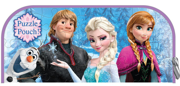 """Frozen Puzzle Pouch: 48 Pieces, 9"""" x 10"""", Anna, Elsa, Olaf and Kristoff"""